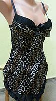 Коричневый леопардовый комплект  пеньюар и трусики Чашка А+75. 44 размер