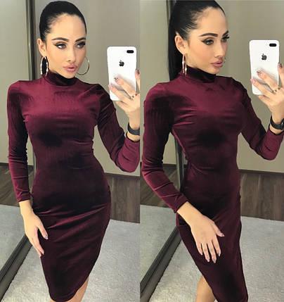 Бордовое бархатное платье-гольф, фото 2