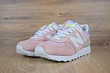 Женские кроссовки New Balance 574 розовые с белым. Живое фото (Реплика ААА+), фото 2