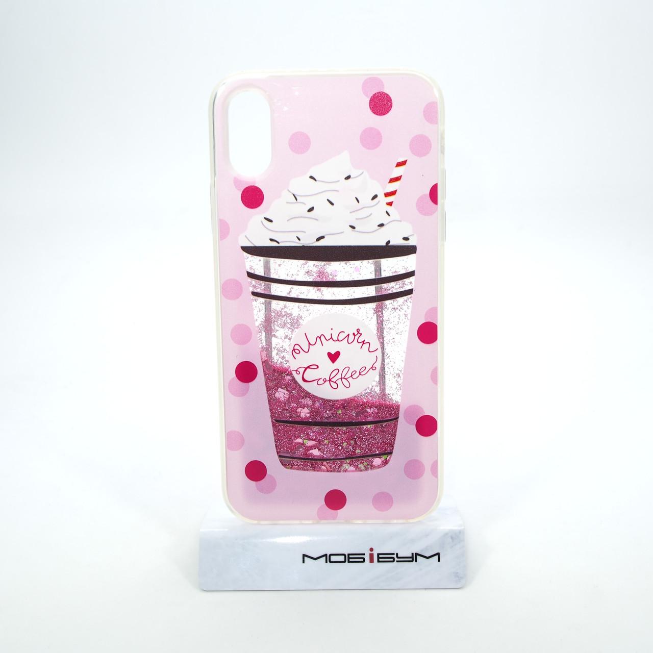 "Чехол Aqua iPhone Xs/X {5.8""} unicorn coffee"