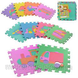 Детский коврик Мозаика M 0377 транспорт 10 деталей