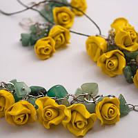 Комплект, набор украшений (подвеска,серьги, браслет).Бижутерия с натуральным камнем нефритом.