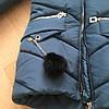 Зимнее детское пальто для девочки с бубонами на карманах, фото 2