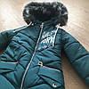 Зимнее детское пальто для девочки с бубонами на карманах, фото 6