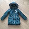 Зимнее детское пальто для девочки с бубонами на карманах, фото 5