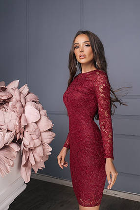 Бордовое гипюровое платье, фото 2
