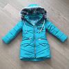 Зимнее детское пальто для девочки с бубонами на карманах, фото 10