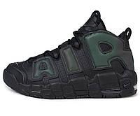 Мужские кроссовки Найк Air More Uptempo All Black Реплика, фото 1