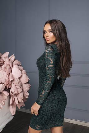 Зеленое гипюровое платье с подкладкой, фото 2