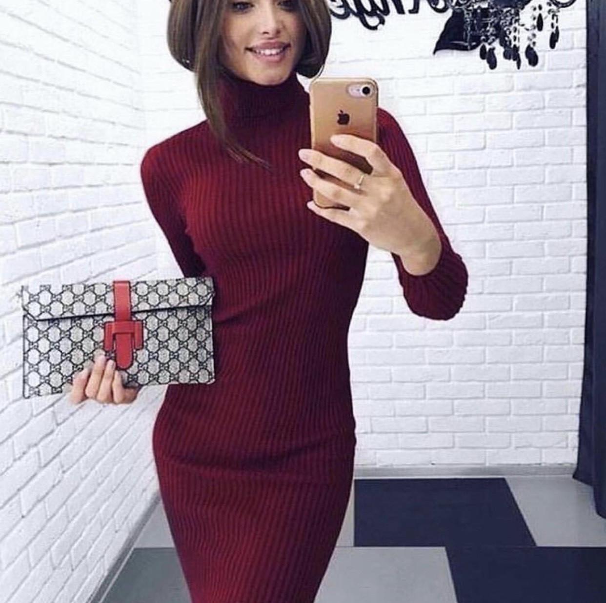 Платье гольф 42-48 марсала