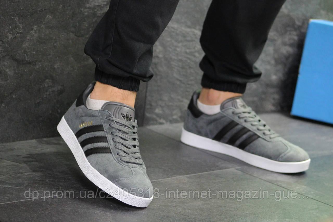 Мужские кроссовки Adidas Gazelle (реплика) серые с черным -  Интернет-магазин