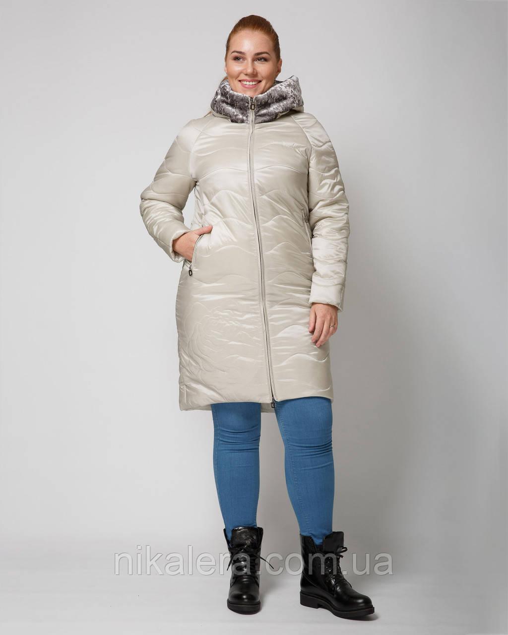 Куртка демисезон удлиненная с эко-мехом рр 46-56