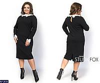 Эксклюзивное строгое черное платье креп -стрейч + натуральное белоснежное кружево 46 48 50 52 54 56 58 60