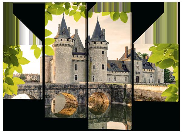 Модульная картина Interno Эко кожа Белый замок 166x123см (A382XL)