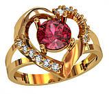 Кольцо  женское серебряное  Сердце с рубином 111 870, фото 2