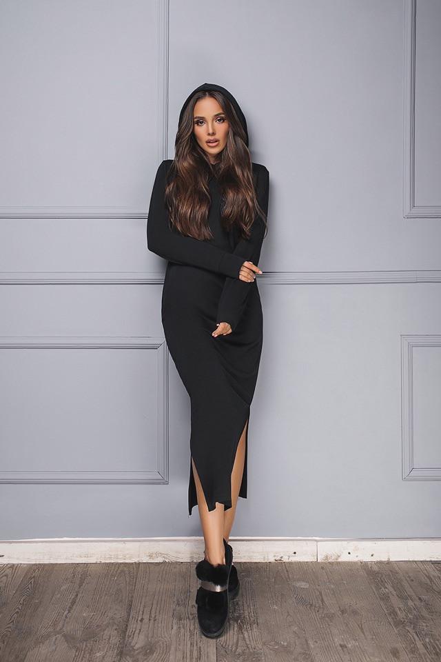 Платье черное длинное с капюшоном