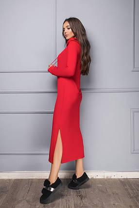 Красное длинное платье с капюшоном, фото 2
