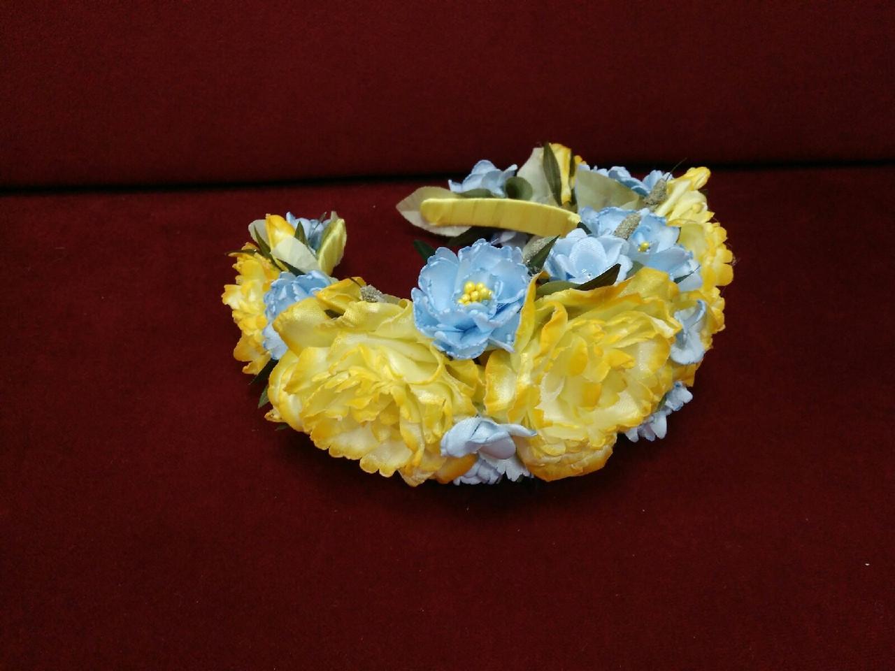 Венок на голову объемный из пион желто-голубой (патриотичный)