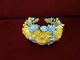 Венок на голову объемный из пион желто-голубой (патриотичный), фото 2