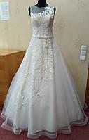 65.3 Белое свадебное платье с макраме, жемчугом и юбкой на корсе,  размер 46