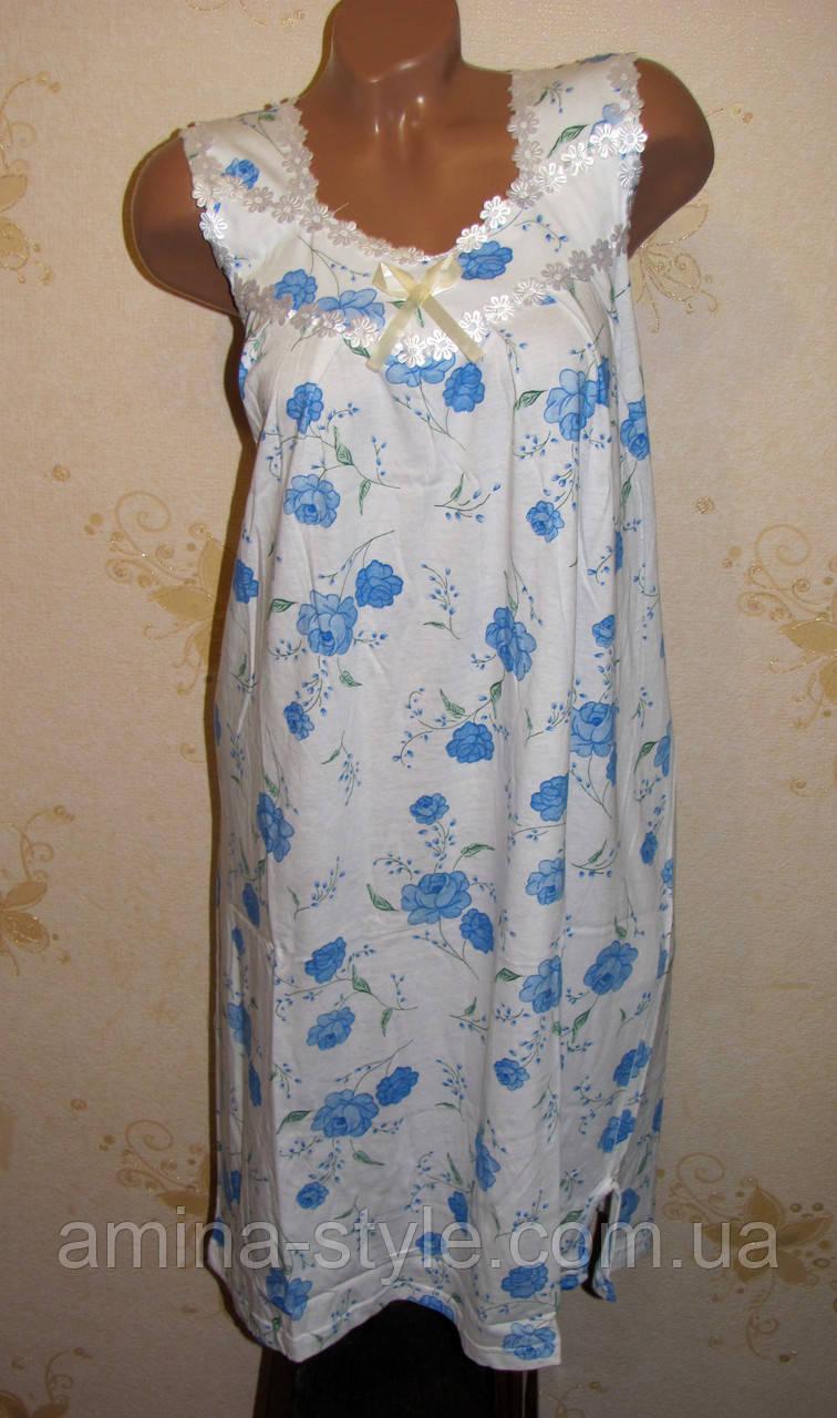 Женская хлопковая ночная рубашка  БОЛЬШОЙ РАЗМЕР