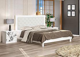 Ліжко двоспальне з мякою спинкою Єва (білий)