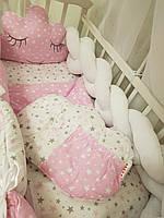 Бортики защита в кроватку, детское постельное белье Косичка