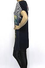 Футболка-туника женская микро-масло с принтами и стразами, фото 3