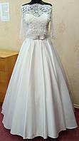 67.1 Универсальное белое свадебное платье-трансформер с кружевным верхом и атласной юбкой, размер 46
