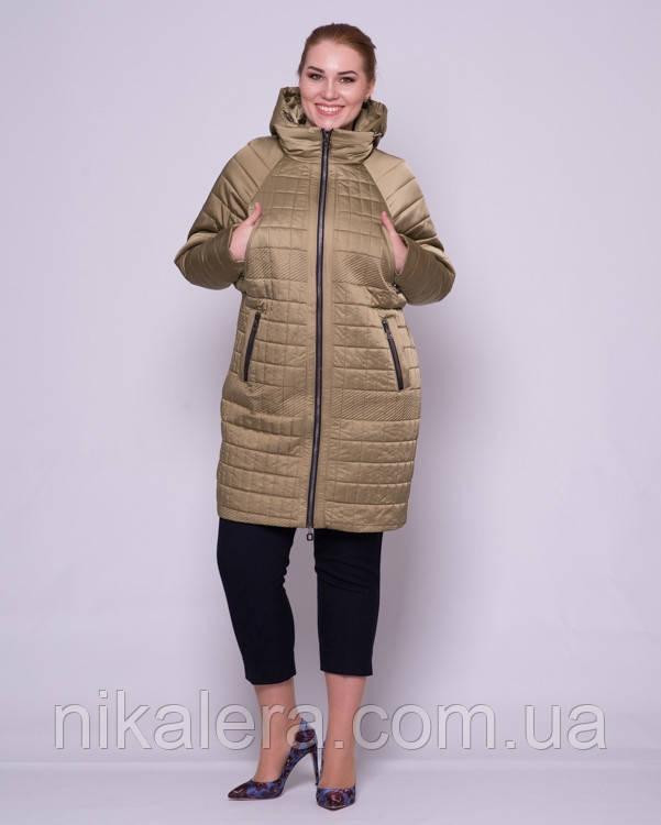 Стеганная куртка свободного кроя с рукавом летучая мышь рр 48-56