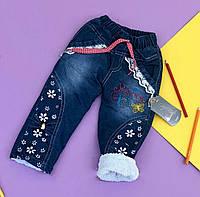 Утепленные джинсы на махре для девочки.  74,80 рост