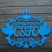 Монограмма свадебная с фамилией, инициалами и датой свадьбы