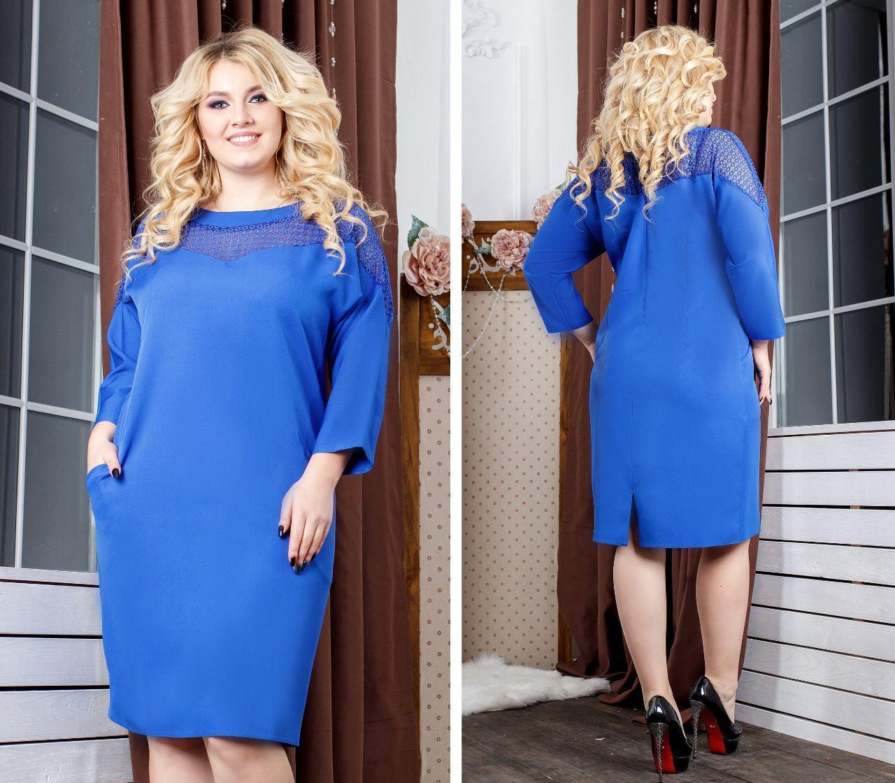 Платье женское, креп, модель 148 батал, цвет - электрик