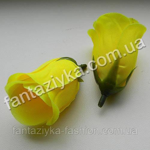 Бутон розы искусственный желтый 5см