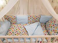 """Бортики защита в кроватку, детское постельное белье Бонна """"Облако"""" для новорожденного."""