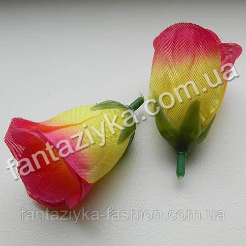 Бутон розы искусственный розово-желтый 5см