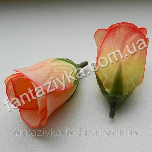 Бутон розы искусственный персиково-желтый 5см