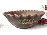 Гончарная миска из глины 3 л с рисунком, фото 1