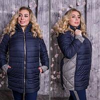 Куртка демісезонна з контрастними вставками, з 48 по 82 розмір, фото 1