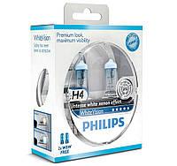 Галогенные лампы PHILIPS H4 WhiteVision 12V 60/55W 12342WHVSM, фото 1