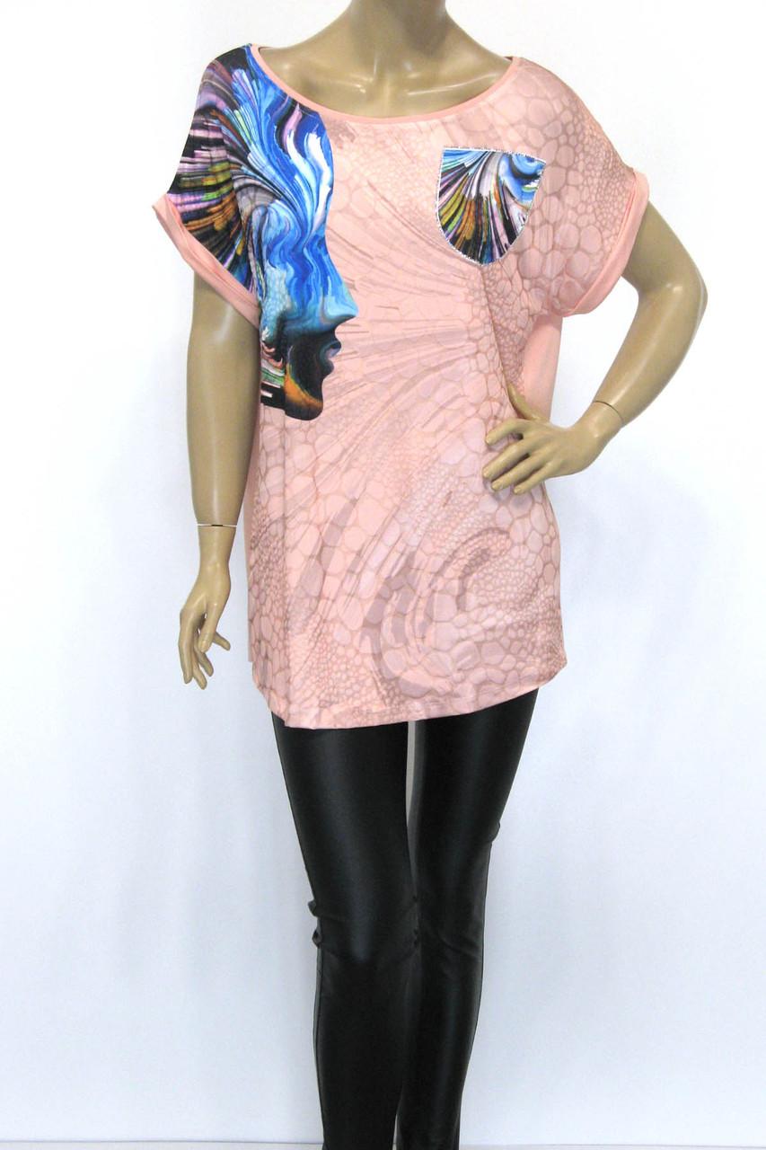 Жіноча футболка туніка з абстрактним принтом