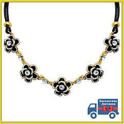 Короткое Колье под Золото Черные Цветы со Стразами, на Шнуре, Длина 45 см + 4 см. Бесплатная Доставка
