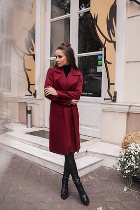 Бордовое пальто с запахом, фото 2