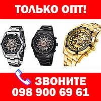 Только ОПТ! Механические мужские часы WINNER Timi Skeleton Siver/Black с автоподзаводом