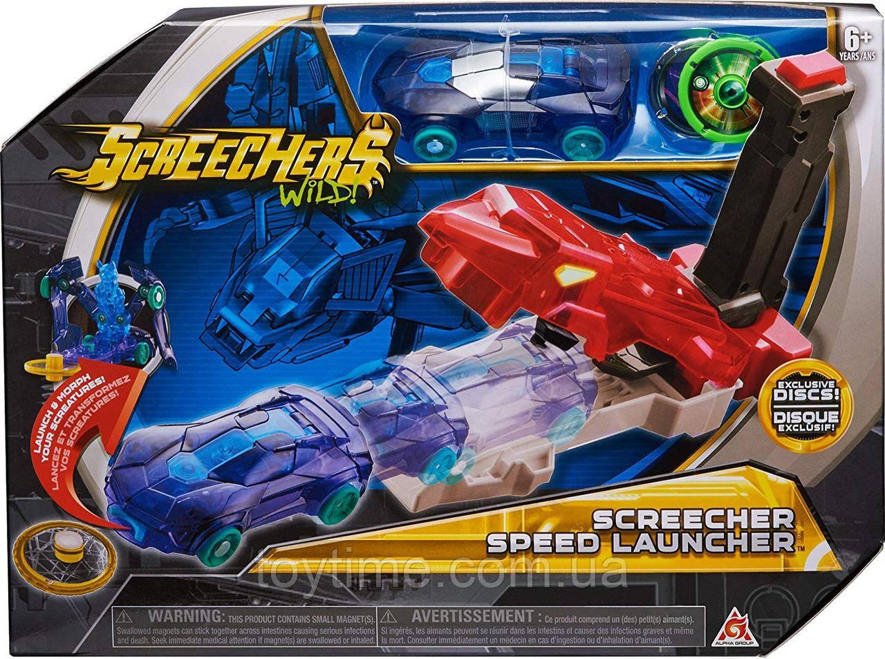 Набор Пускатель машинок Скричерс / Screechers Wild Screecher Speed Launcher Flipping Morphing Toy Car Vehicle