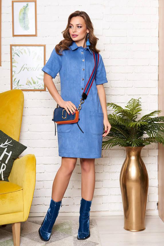 Красивое голубое платье рубашка под замш с коротким рукавом, фото 2