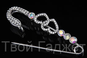 Брошь-булавка с сердечками серебряного цвета  (Цена за 1 шт)
