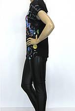Футболка жіноча чорна з принтом стрикоза, фото 2