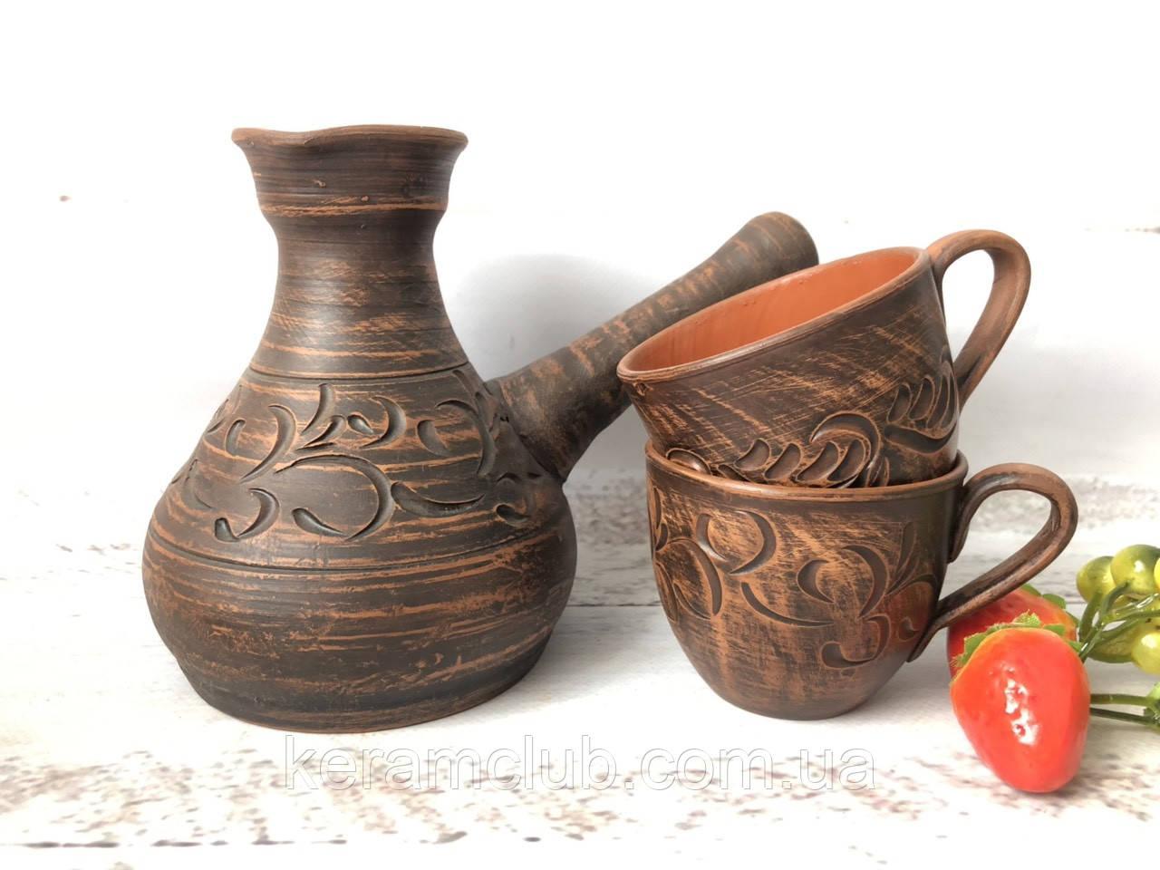 Глиняная турка ручной работы и 2 кофейные чашки