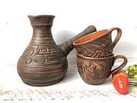 Глиняная турка ручной работы и 2 кофейные чашки, фото 1
